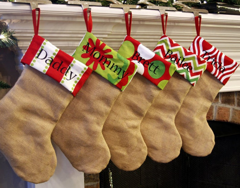 Christmas Stocking. Personalized Natural Burlap Christmas image 0