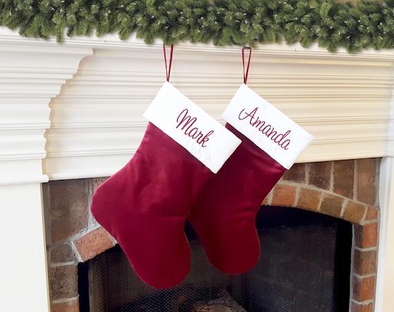 Red Velvet Christmas Stockings.Christmas Stockings Traditional Christmas Stocking Red Or Burgundy Velvet Christmas Stocking Ivory Cream White Quilted Top Personalized