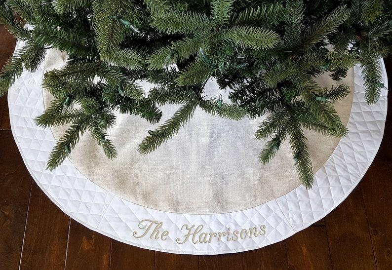Personalized Christmas Tree Skirt. 54 White/Ivory Burlap image 0