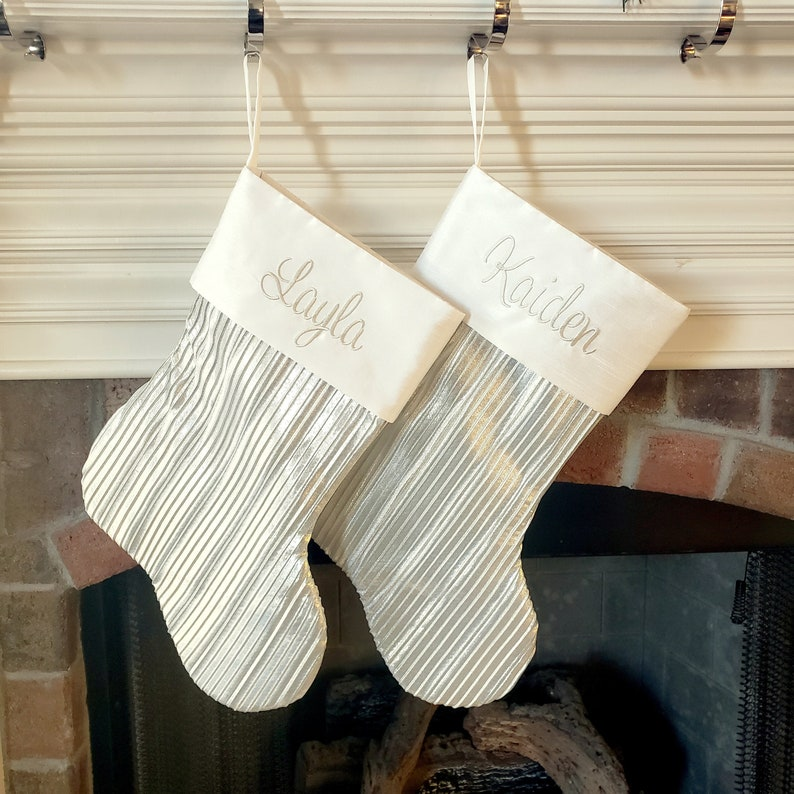 Personalized Christmas stocking. Champagne White Gold Shimmery image 0