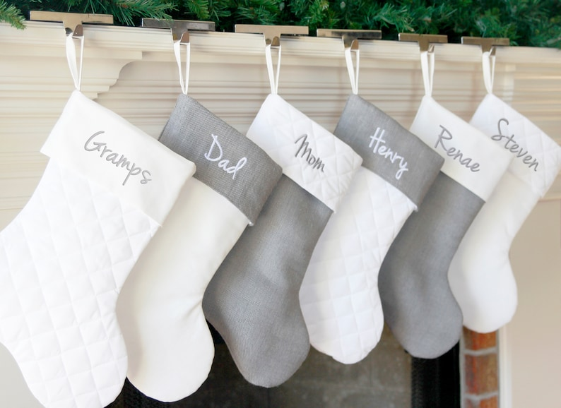 Christmas Stocking. Personalized Christmas Stocking. Gray image 0