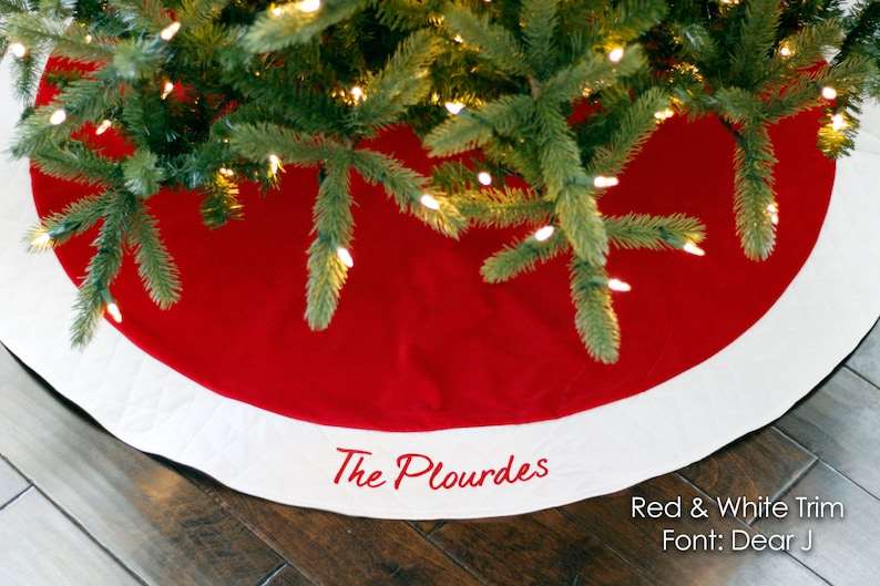 Christmas Tree Skirt. Personalized 54 Red Velvet image 0