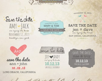 instant download save the date words overlays vol4