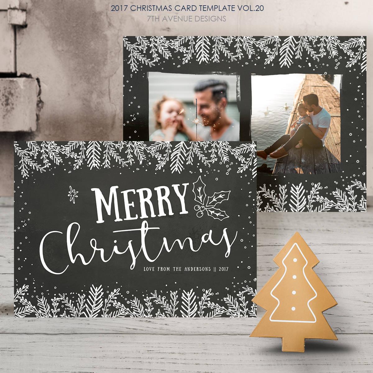 2017 Christmas Card Templates Vol.20 7x5 Inch Card