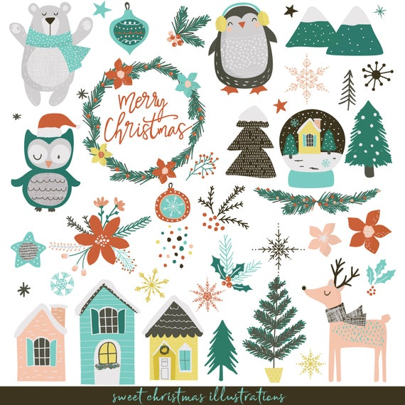 Christmas Illustrations.Sweet Christmas Illustrations