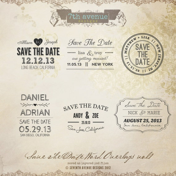 instant download save the date words overlays vol1