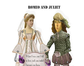 Shakespeare Romeo and Juliet paper dolls articulated renaissance dolls puppets craft project romantic valentine Lovers Card DIY
