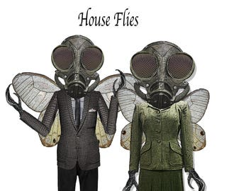 Steampunk printable paper dolls halloween  House flies, craft project paper puppets collage sheets scrapbook dolls
