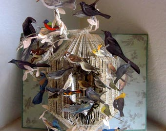 """Altered Book Autopsy """"A field Guide of birds"""""""