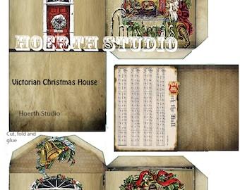 Printable Victorian christmas village paper house model DIY