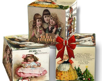 Christmas Holiday Victorian Gift  Box DIY instant download