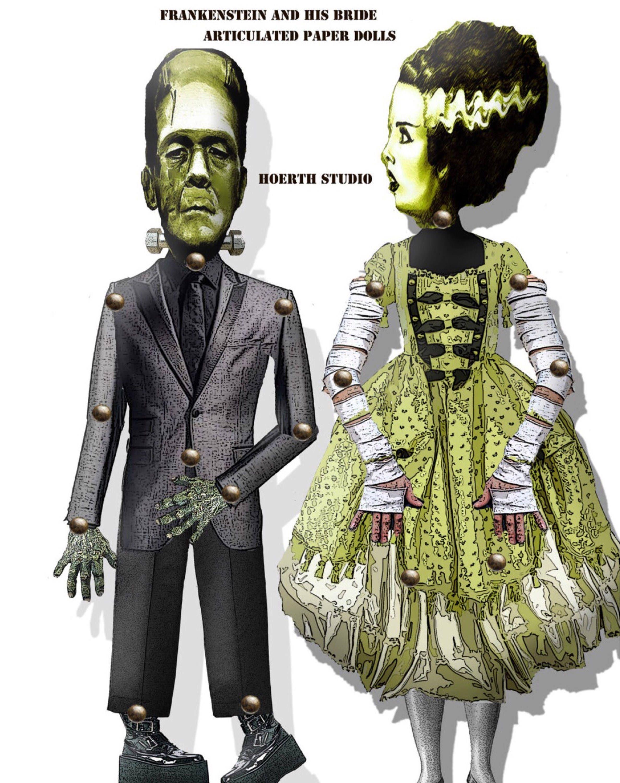 Druckbare Halloween Papier Requisiten Frankenstein und seine