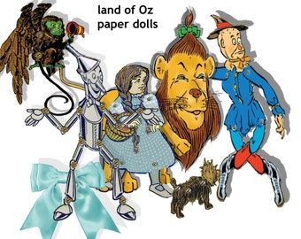 Wizard of OZ printable articulated paper dolls yellow brick road puppets