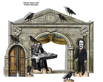 Halloween theatre prop Edgar Allen Poe Gothic  Paper Theatre
