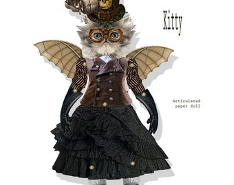 Steampunk paper doll time traveler kitty articulated puppet doll toy DIY instant download