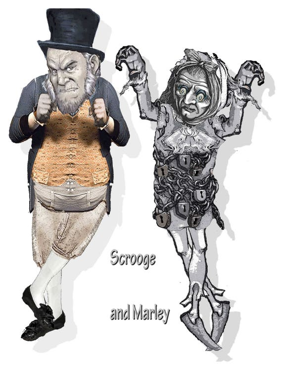 Christmas Carol Scrooge Drawing.A Christmas Carol Paper Puppets Printable Scrooge And Marley Paper Dolls Articulated Great Christmas Gift Or Tree Ornament