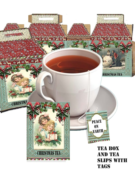 Printable victorian christmas Tea time bag slips, tags and tea box