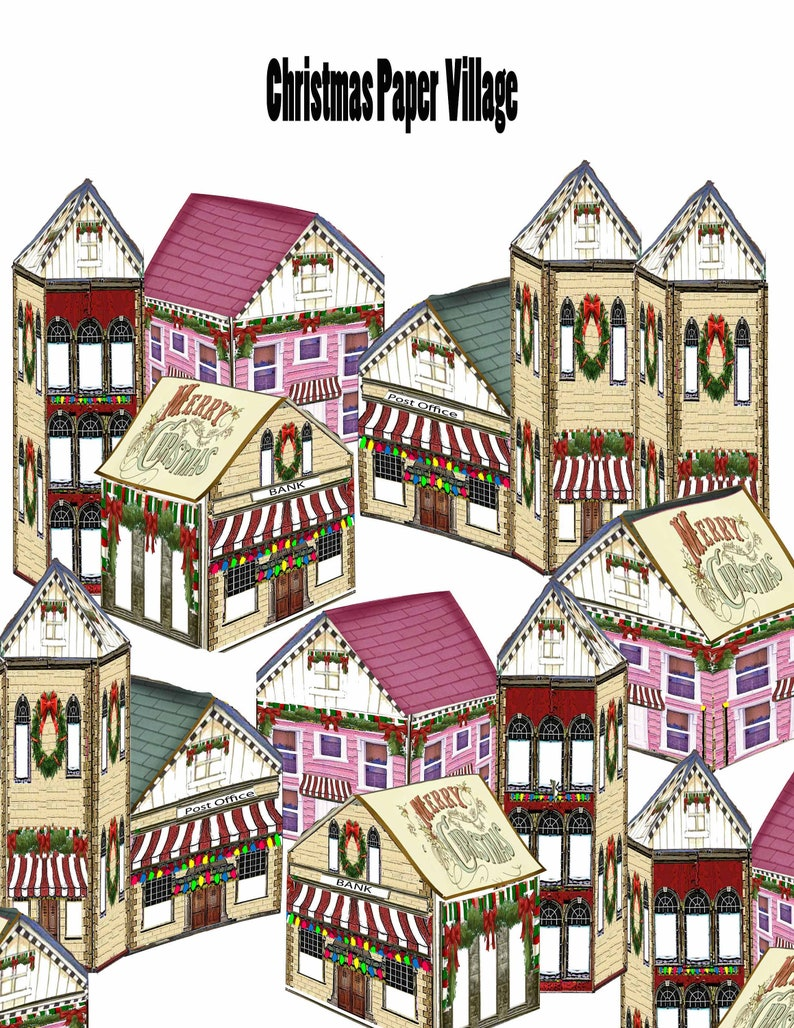 printable victorian paper miniature houses christmas village with villagers and ephemera craft project instant download