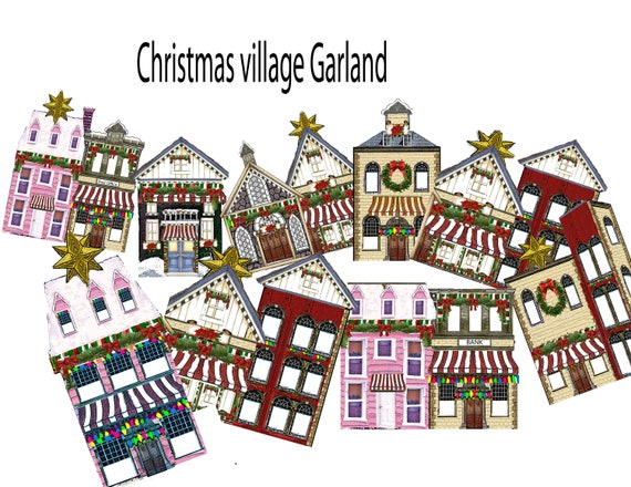 Victorian christmas village garland