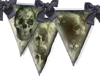 printable Halloween party gothic grunge  skulls  banner  perfect for Halloween Party  or any Gothic occasion  DIY