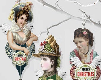 Victorian angels Christmas tree Ornaments Collage sheets, DIY christmas project for your tree or scrapbook craft kit
