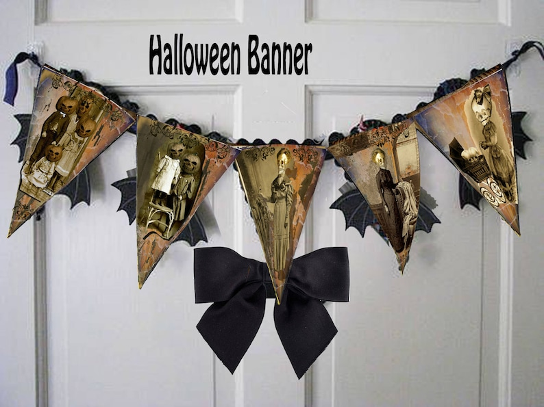 Printable halloween Gothic  party banners bunting or just fun decor  macabre gothic flags large size