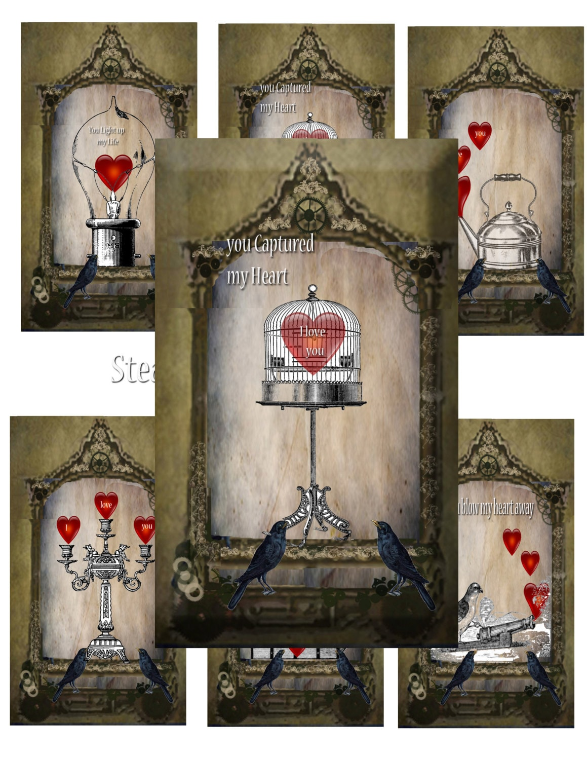 Steampunk Valentine Cards Diy Instant Downloadable Cards Etsy