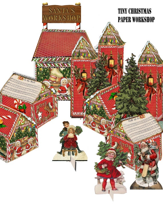 Christmas Houses.Printable Victorian Christmas Village Santa S Workshop Craft Project Diy Downloadable Craft Project For The Holidays