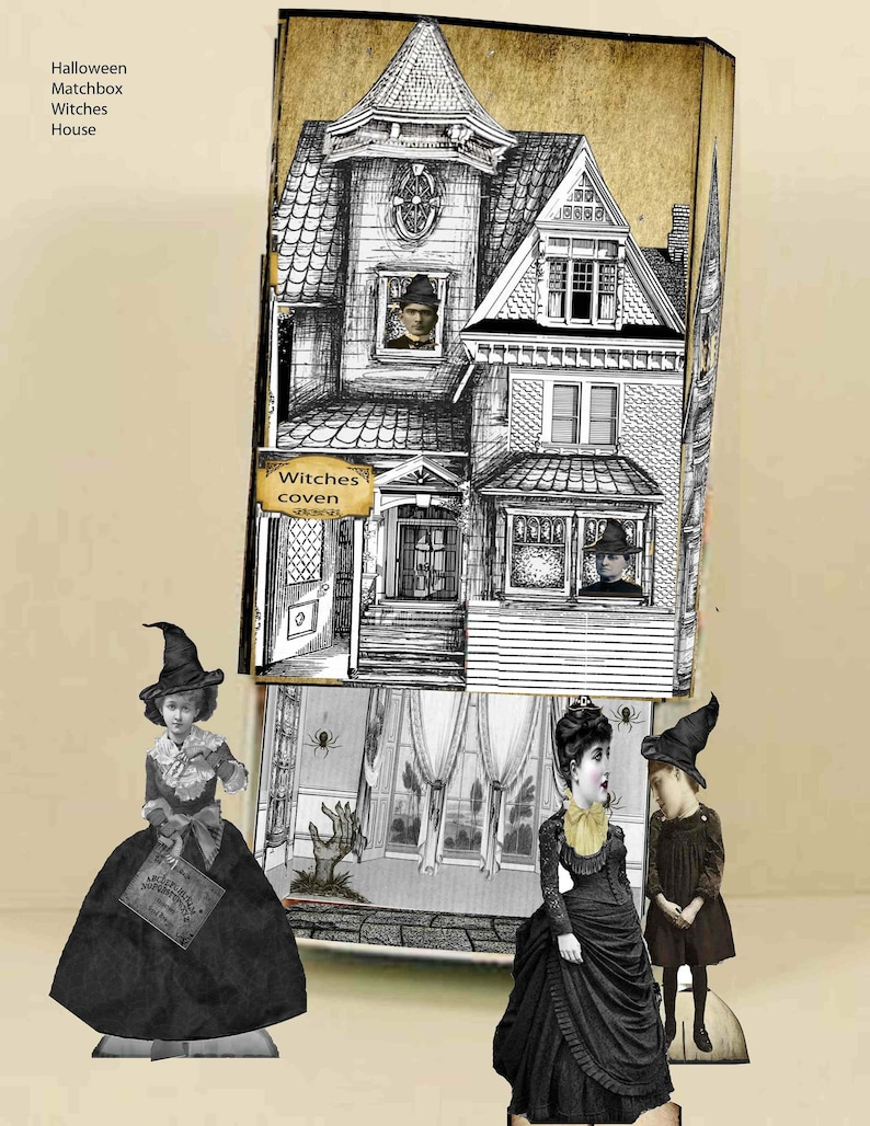 printable Witches Coven Gothic Halloween house slide box with paper dolls  DIY paper kit great for projects for halloween download