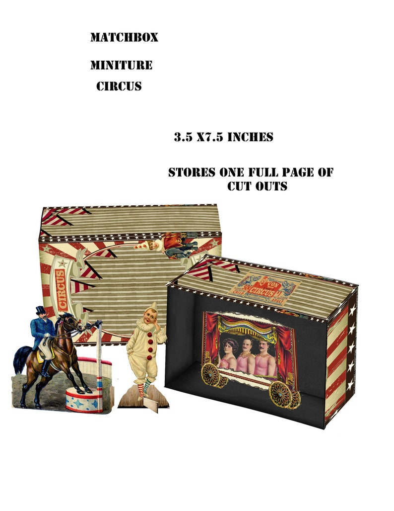 Excellent Printable Vintage Circus Steampunk Paper Miniature Box Circus 3 5 Inch X 7 5Inch Box And Collage Sheet Great Craft Project Circus Theme Home Interior And Landscaping Mentranervesignezvosmurscom