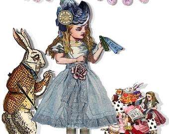 Alice in Wonderland paper doll collage
