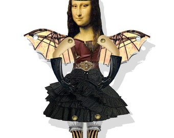 Steampunk gothic  Paper doll  Mona Lisa da Vinci Time traveler DIY