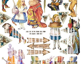 Printable Alice in wonderland collage sheet