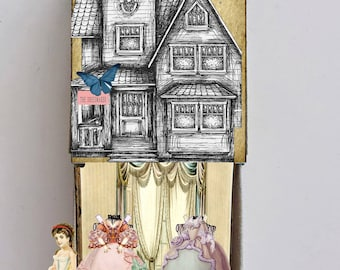 printable victorian dress shop matchbox house craft project miniature paper doll set craft project paper art collage sheets