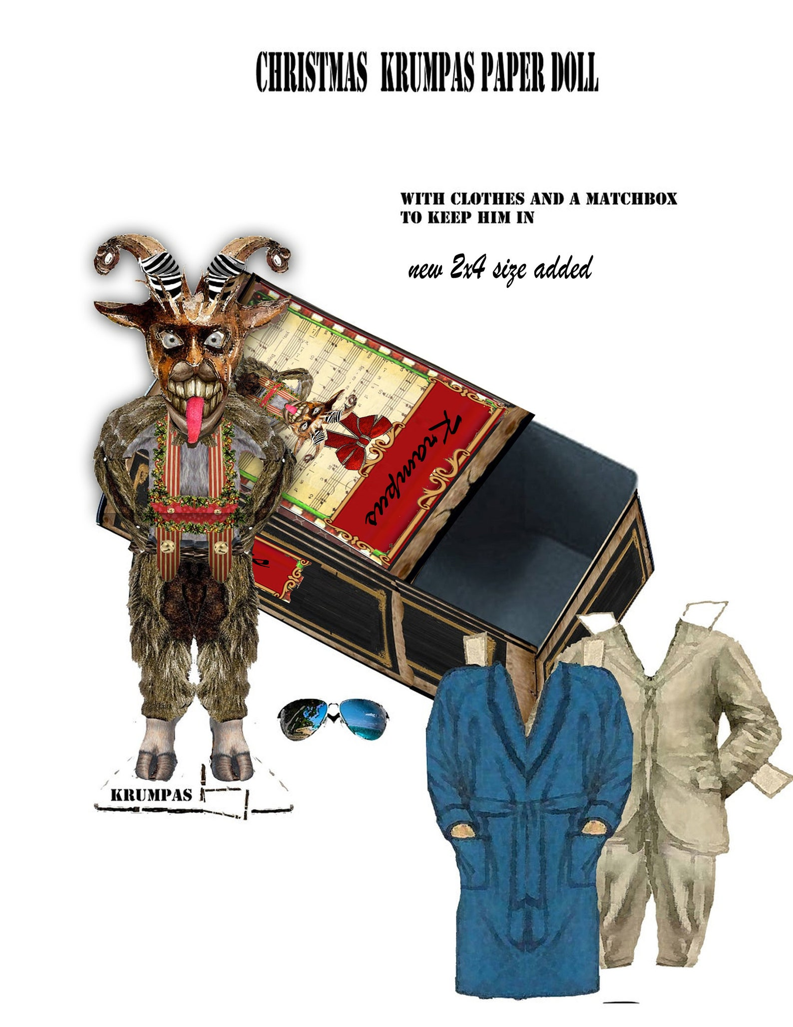 Christmas paper doll Krampus and slide box storage for wardrobe, DIY project collage sheets christmas stocking stuffer