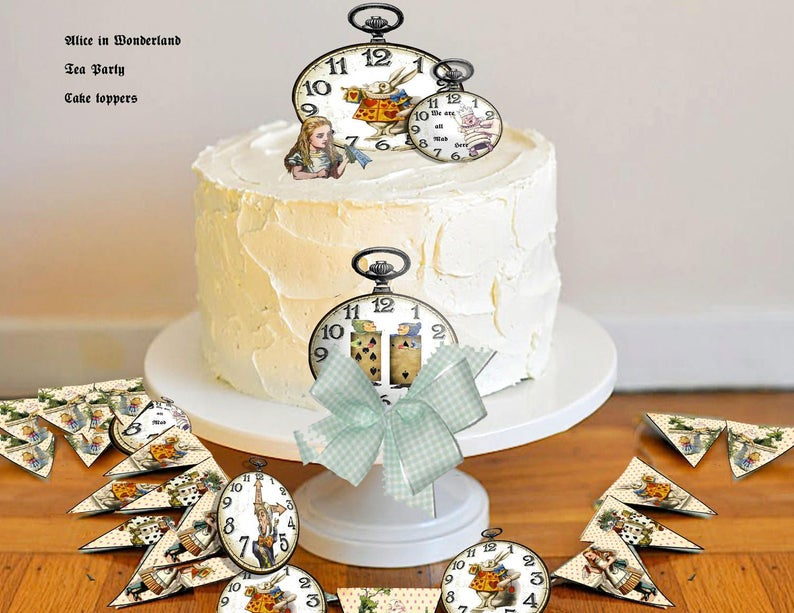 Printable Alice In Wonderland Cake Toppers And Party Decor