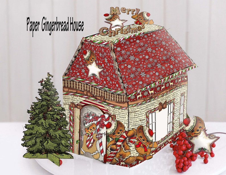 Wondrous Printable Victorian Gingerbread House Christmas Decoration Printable Pattern To Print And Assemble Craft Kit Download Free Architecture Designs Rallybritishbridgeorg