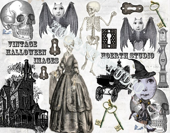 halloween sheets collage printable Vintage