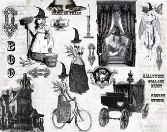 printable Halloween Steampunk Gothic Collage - Victorian Witches instant download collage