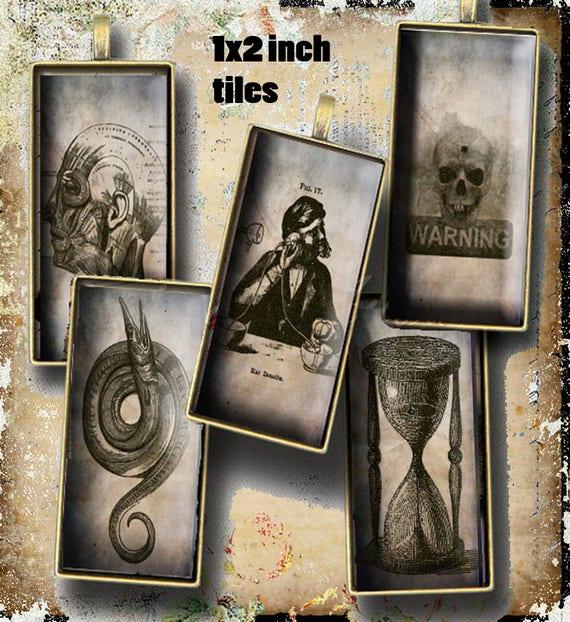 Printable Gothic Apothecary Tiles Halloween Steampunk Collage Etsy