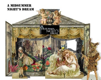 printable theatre Midsummer's Night Dream shakespeare Play set downloadable craft collage sheets Kids craft scrapbooking card making kit