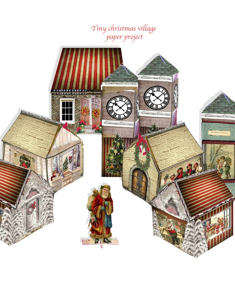 photograph regarding Printable Christmas Village Template titled printable xmas village Victorian paper residences and clock tower involves small studies downloadable documents craft undertaking collage sheets