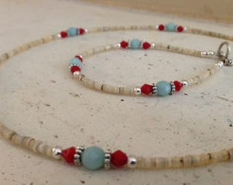 Heisi Shell, Aqua Chalcedony, and Red Crystal Necklace and Bracelet