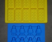 Set of 2 Silicone Lego Minifigure Ice tray & brick ice tray candy soap mold birthday party favors FIRST CLASS SHIPPING