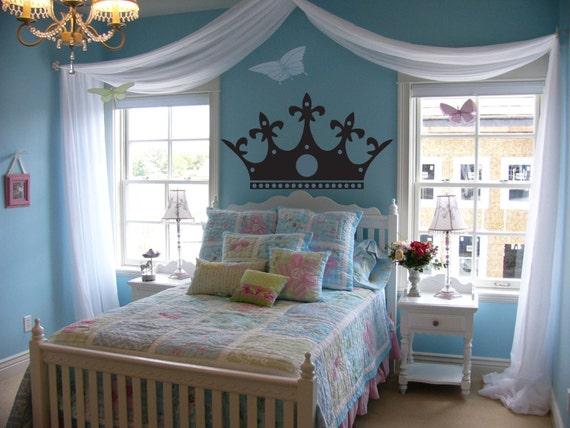 Queen Crown headboard - Master bedroom wall decal - Woman Queen Girl Baby  princess decal, queen crown wall, master bedroom, Living room
