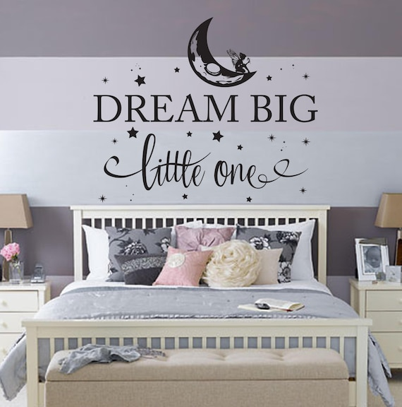 Dream Big Little One fairy Nursery Bedroom Wall Decal Crib Bedding Wall Art  World moon travel map childrens kids wall art star decals quote