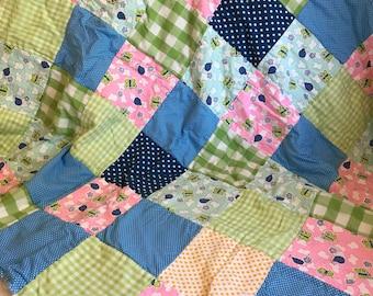 Bugsy, an eco-friendly rag quilt!