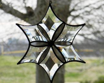 Medium Morphing Beveled Glass 3D Star Suncatcher