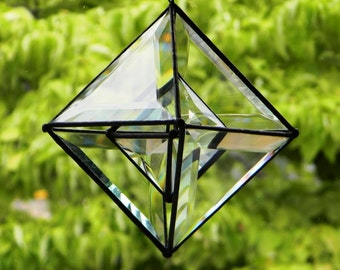 """5.5"""" Pyramid Shaker Beveled Glass Orb with Small Orb Center"""