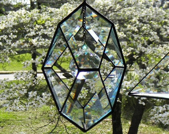 Beveled Glass Pentagon Orb With 40mm Crystal Accent